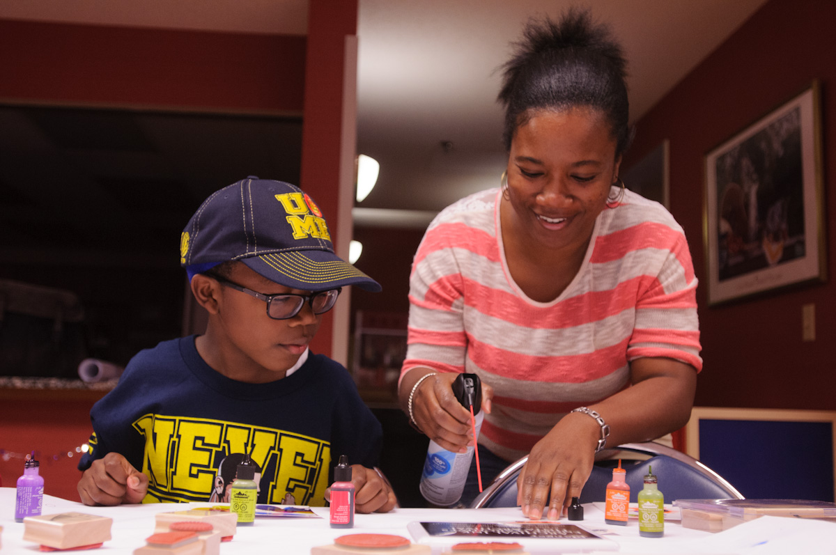 Child and Adult doing crafts